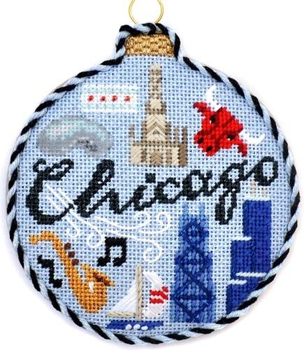Travel Round - Chicago with Stitch Guide Painted Canvas Needlepoint.Com