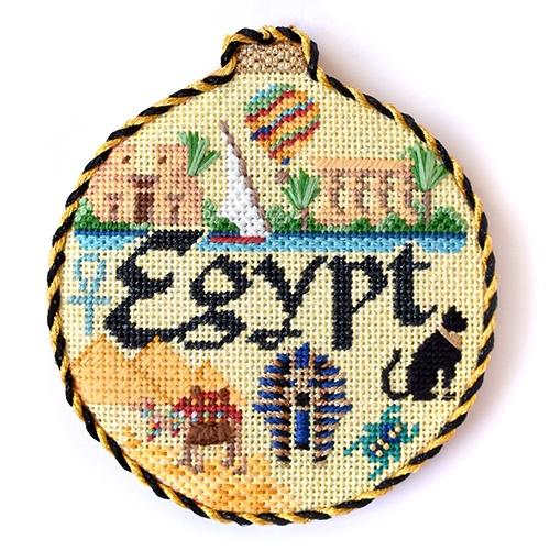 Travel Round - Egypt with Stitch Guide Painted Canvas Needlepoint.Com