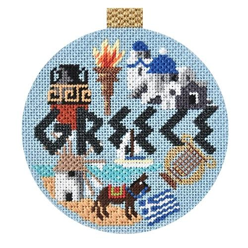 Travel Round - Greece with Stitch Guide Painted Canvas Needlepoint.Com