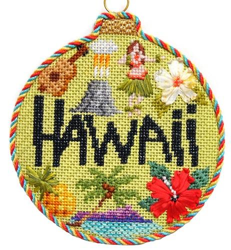 Travel Round - Hawaii with Stitch Guide Painted Canvas Needlepoint.Com