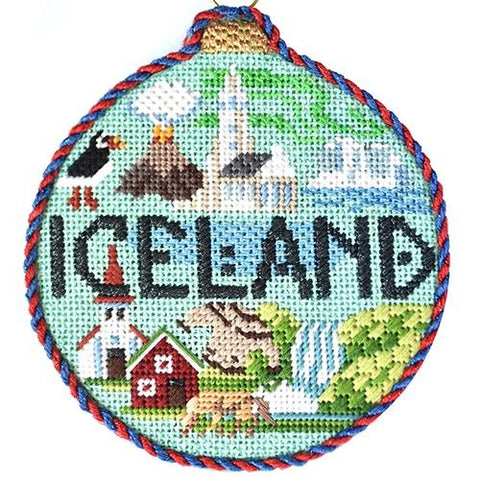 Travel Round - Iceland with Stitch Guide Painted Canvas Kirk & Bradley