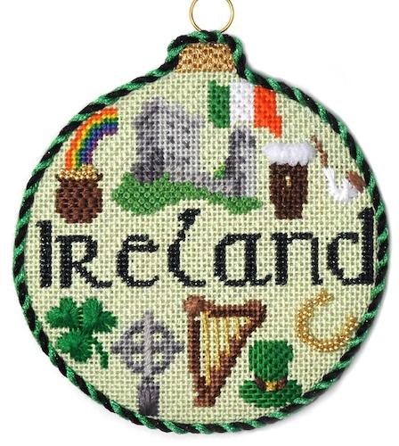 Travel Round - Ireland with Stitch Guide Painted Canvas Needlepoint.Com