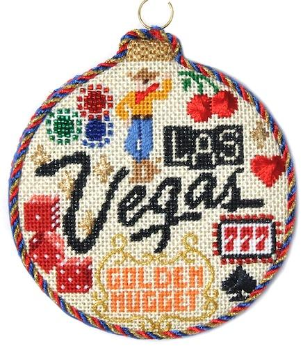 Travel Round - Las Vegas with Stitch Guide Painted Canvas Needlepoint.Com