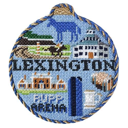 Travel Round - Lexington with Stitch Guide Painted Canvas Needlepoint.Com