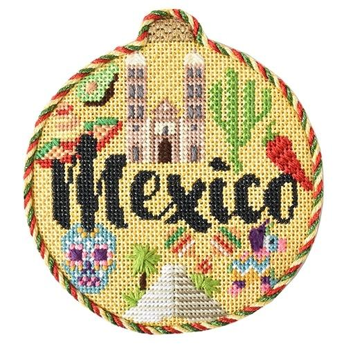 Travel Round - Mexico with Stitch Guide Painted Canvas Needlepoint.Com