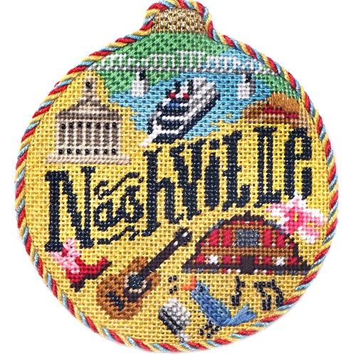 Travel Round - Nashville with Stitch Guide Painted Canvas Needlepoint.Com