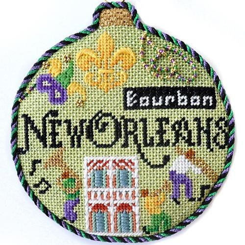 Travel Round - New Orleans with Stitch Guide Painted Canvas Needlepoint.Com