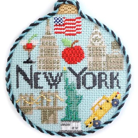 Travel Round - New York with Stitch Guide Painted Canvas Needlepoint.Com