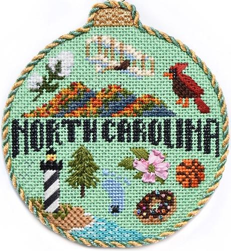 Travel Round - North Carolina with Stitch Guide Painted Canvas Needlepoint.Com
