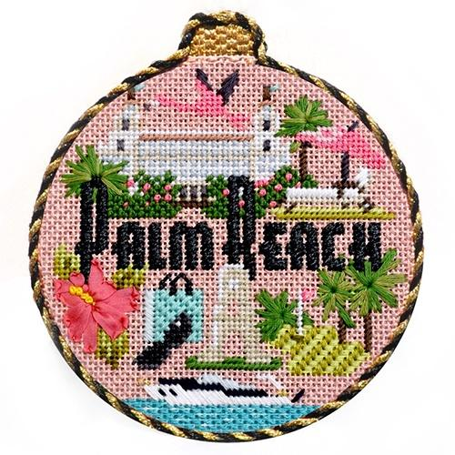 Travel Round - Palm Beach with Stitch Guide Painted Canvas Needlepoint.Com