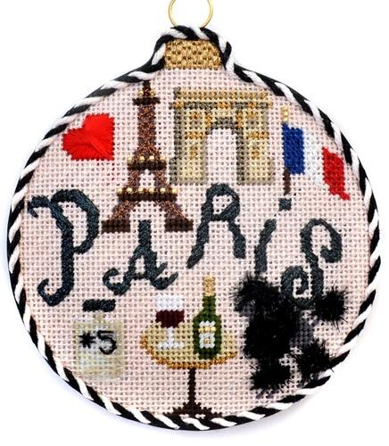 Travel Round - Paris with Stitch Guide Painted Canvas Needlepoint.Com