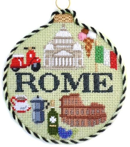 Travel Round - Rome with Stitch Guide Painted Canvas Needlepoint.Com