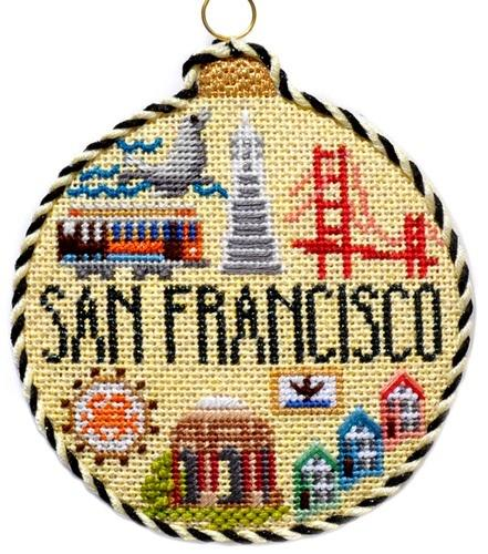 Travel Round - San Francisco with Stitch Guide Painted Canvas Needlepoint.Com