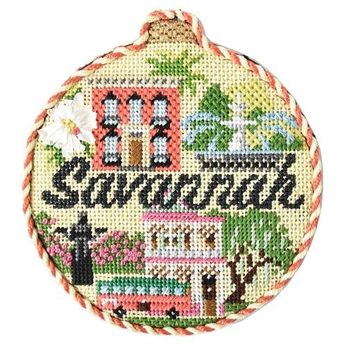 Travel Round - Savannah with Stitch Guide Painted Canvas Needlepoint.Com