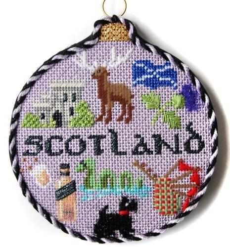 Travel Round - Scotland with Stitch Guide Painted Canvas Needlepoint.Com