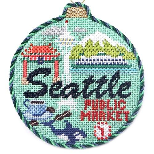 Travel Round - Seattle with Stitch Guide Painted Canvas Needlepoint.Com