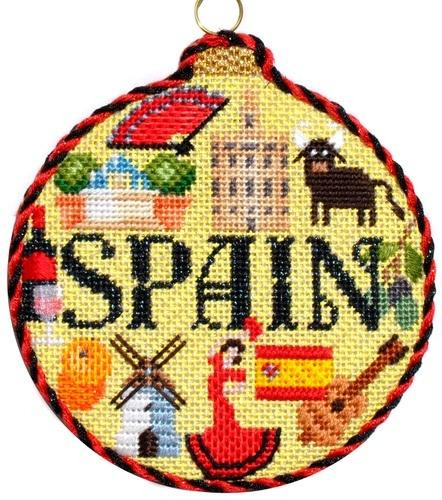Travel Round - Spain with Stitch Guide Painted Canvas Needlepoint.Com