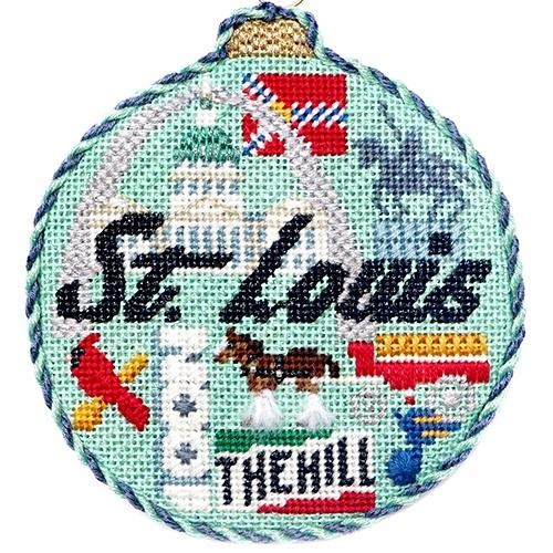 Travel Round - St. Louis with Stitch Guide Painted Canvas Needlepoint.Com