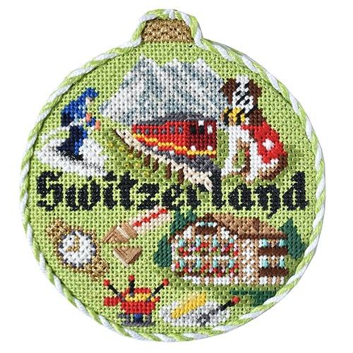 Travel Round - Switzerland with Stitch Guide Painted Canvas Needlepoint.Com