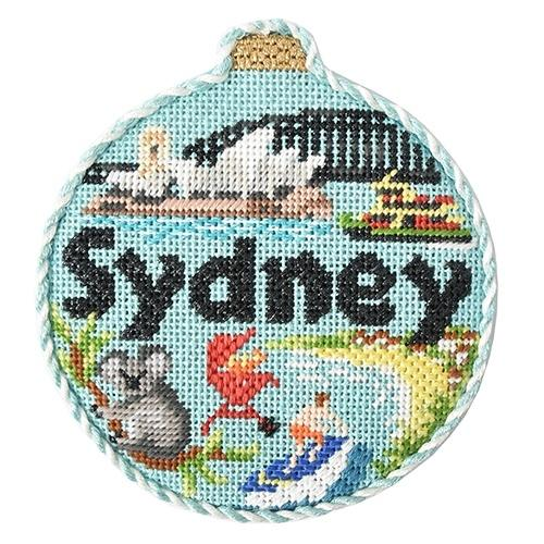Travel Round - Sydney with Stitch Guide Painted Canvas Needlepoint.Com