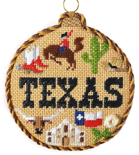 Travel Round - Texas with Stitch Guide Painted Canvas Needlepoint.Com