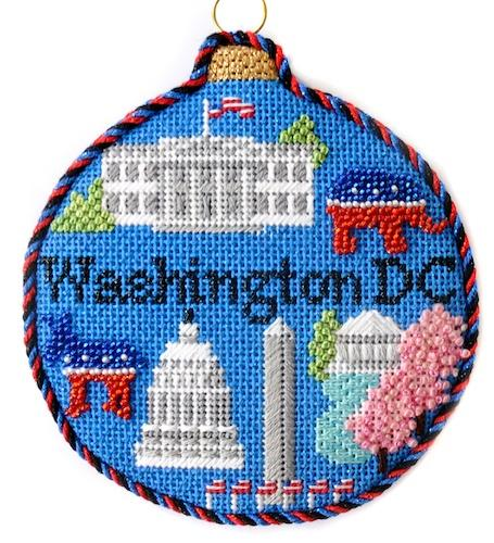 Travel Round - Washington DC with Stitch Guide Painted Canvas Needlepoint.Com