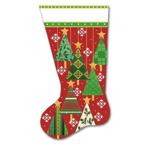 Tree Stocking - Winter Painted Canvas Melissa Shirley Designs
