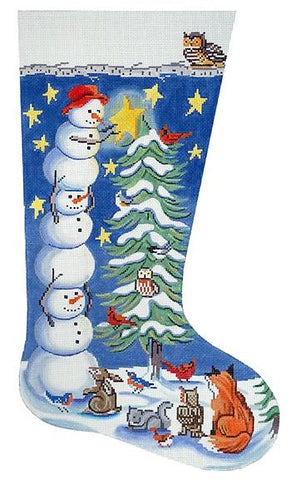 Tree Trimming Snowman Stocking Painted Canvas Alice Peterson