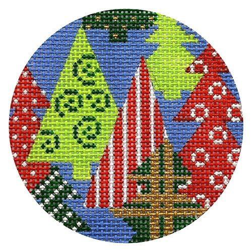 Trees on Blue Painted Canvas CBK Needlepoint Collections