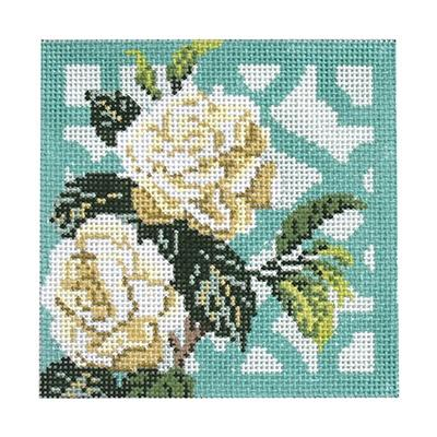 Trellis Coaster - Gardenia Painted Canvas Kirk & Bradley