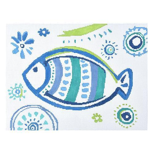 Tropical Fish - Turquoise Stripes Painted Canvas Kirk & Bradley