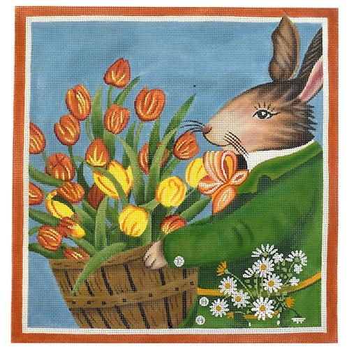 Tulip Bunny Painted Canvas Mary Lake Thompson