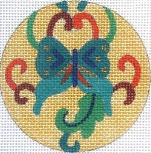 Turquoise Butterfly Painted Canvas Julie Mar Needlepoint Designs