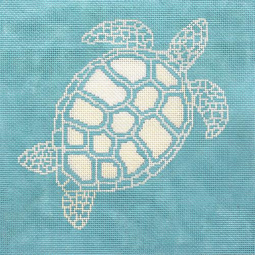 Turtle - Aqua Background Painted Canvas CBK Needlepoint Collections