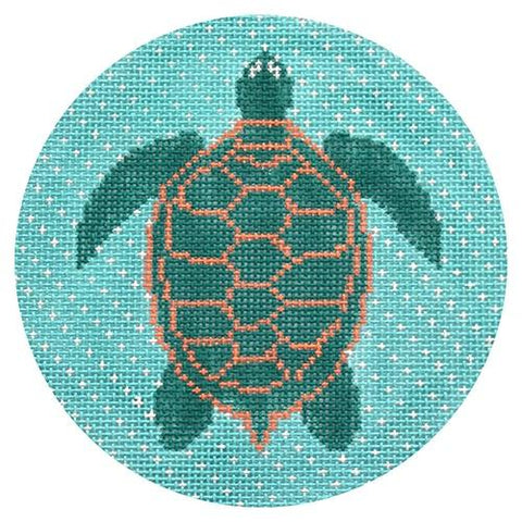 Turtle on Turquoise Ornament Painted Canvas Pewter & Pine