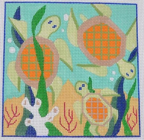 Turtle Posse Painted Canvas Julie Mar Needlepoint Designs