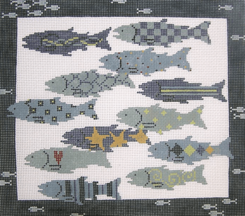 Twelve Fish Painted Canvas Pippin