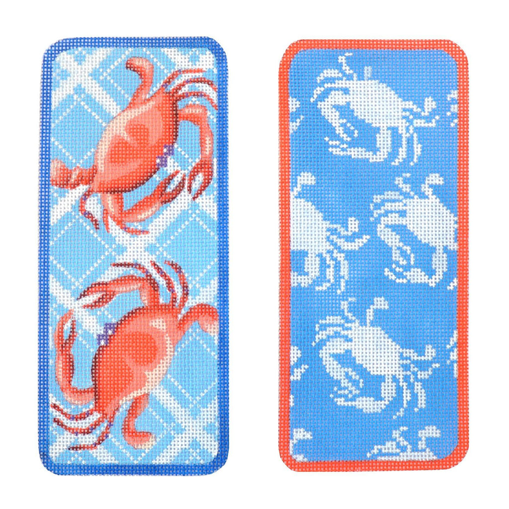 Two Blue Crabs Eyeglasses Case Painted Canvas Kirk & Bradley