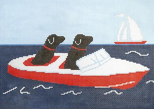 Two Labs in Motorboat Painted Canvas CBK Needlepoint Collections