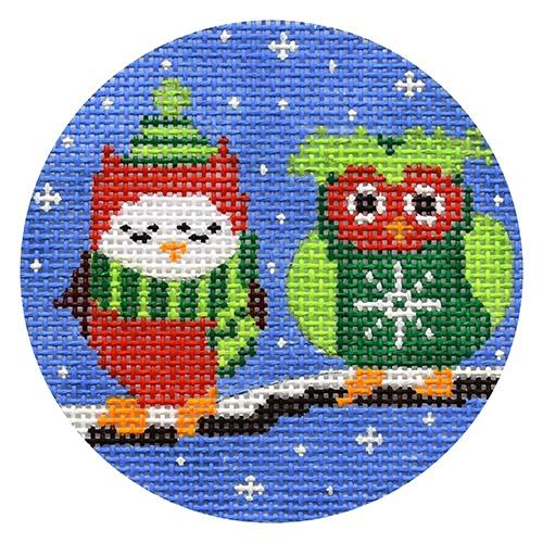 Two Owls on Branch Painted Canvas CBK Needlepoint Collections