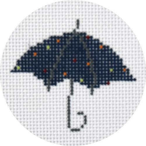 Umbrella Blue Multi Dots Painted Canvas Pippin