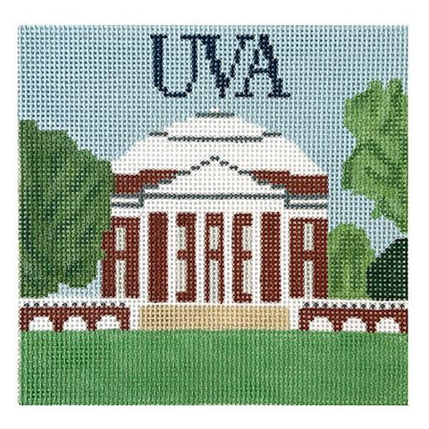 UVA Rotunda Square Painted Canvas Blue Ridge Stitchery
