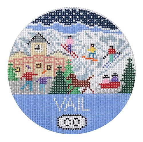 Vail Ornament Painted Canvas Doolittle Stitchery