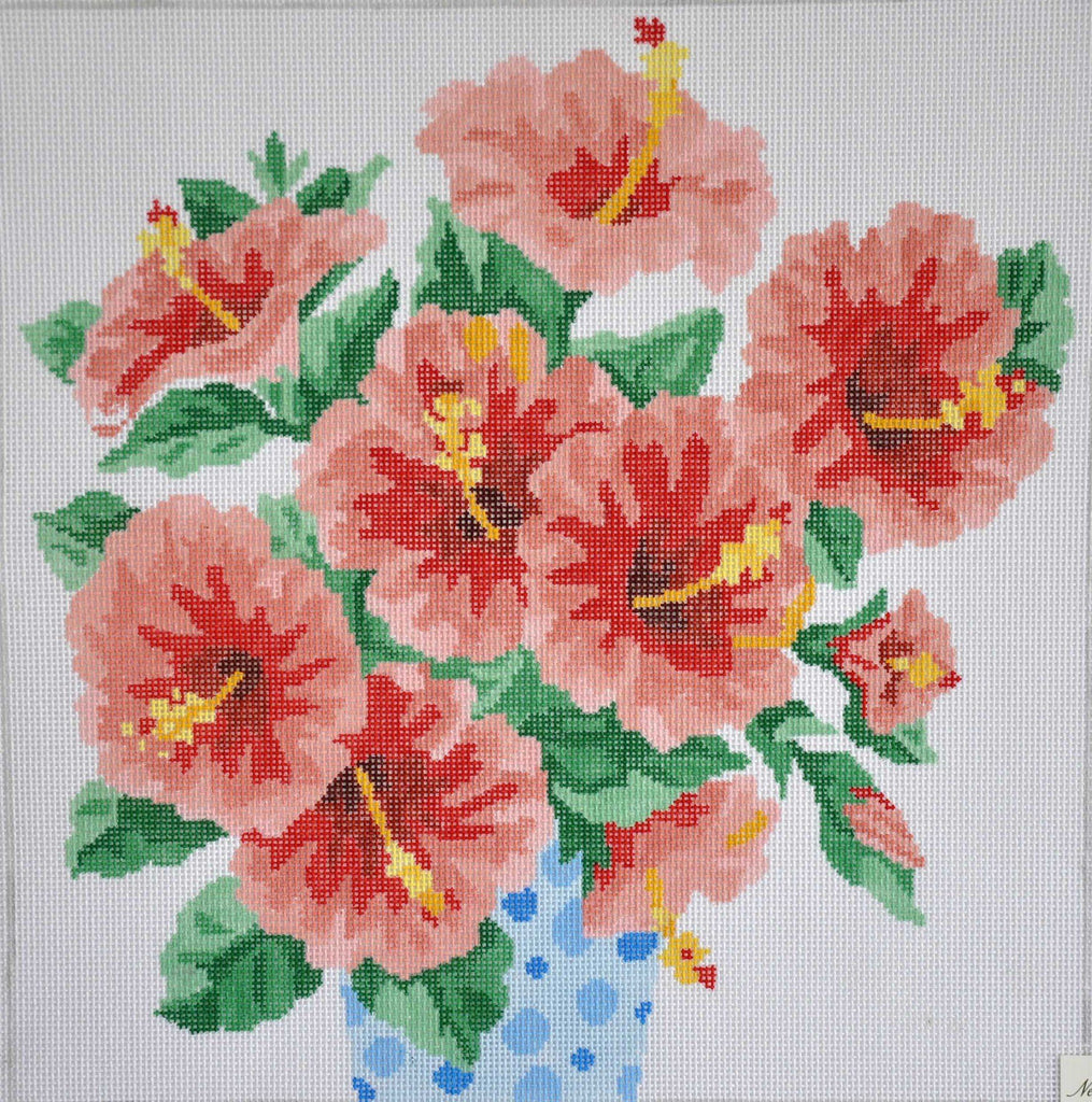 Vase of Hibiscus Painted Canvas Jean Smith