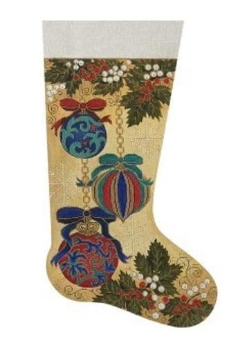 Victorian Ornament Stocking Painted Canvas Alice Peterson