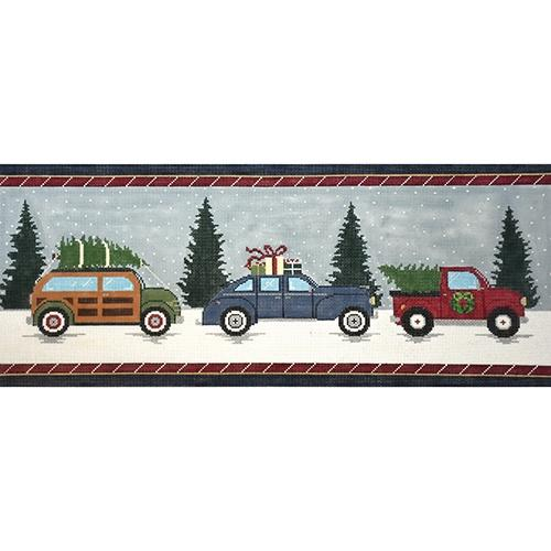 Vintage Christmas Cars Painted Canvas The Meredith Collection