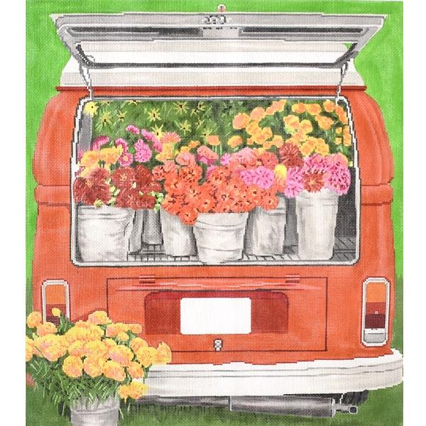 Wagon Bloomful Painted Canvas The Meredith Collection