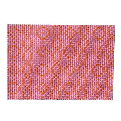 Wallet Insert--Geometric Chain on Pink Painted Canvas Kristine Kingston