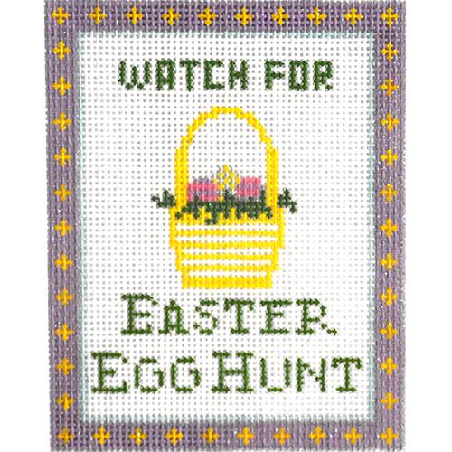 Watch for Easter Egg Hunt Ornament Painted Canvas Kimberly Ann Needlepoint