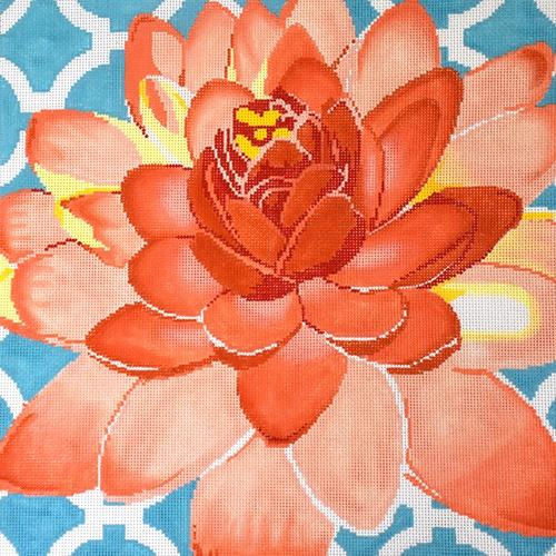 Water Lily on Aqua Painted Canvas The Meredith Collection